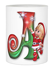 Monogrammed Christmas Elf LED Candle LetterA