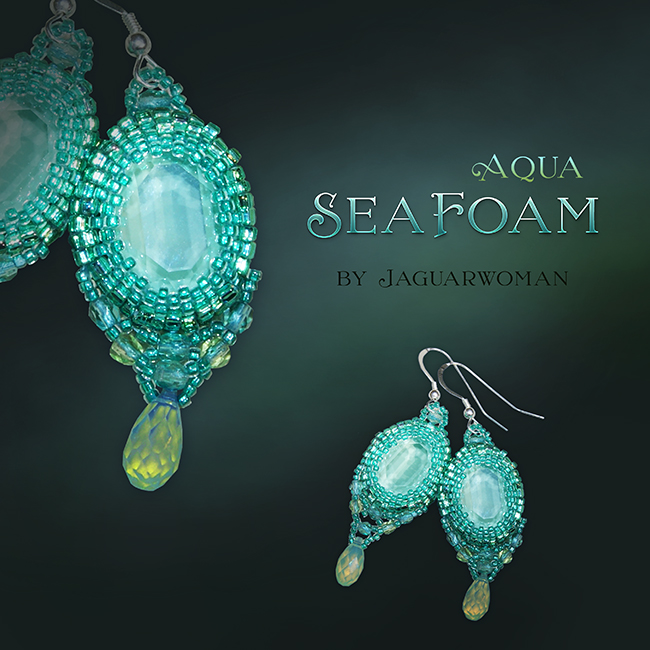 "Jaguarwoman's ""Aqua Seafoam"" Beaded Earrings"